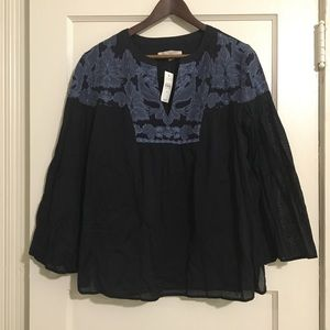 NWT LOFT black/blue embroidery detailed top